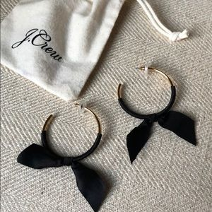 J.Crew black satin bow gold hoops